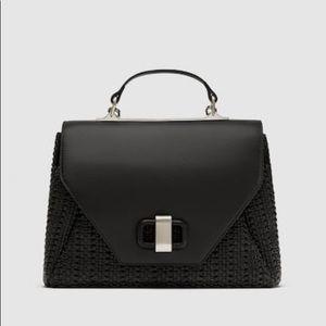 NEW Zara Black Braid City Bag